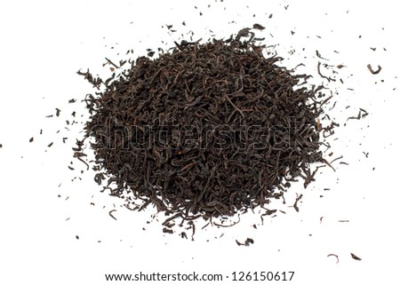 Black tea loose dried tea leaves, isolated on the white background - stock photo