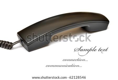black telephone receiver isolated on white background - stock photo