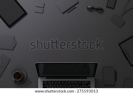 Black template for branding identity with copyspace - stock photo