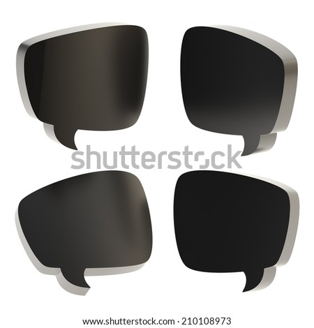 Black text bubble dimensional shapes isolated over the white background, set of four foreshortenings - stock photo