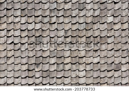 Black tiled roof for background - stock photo