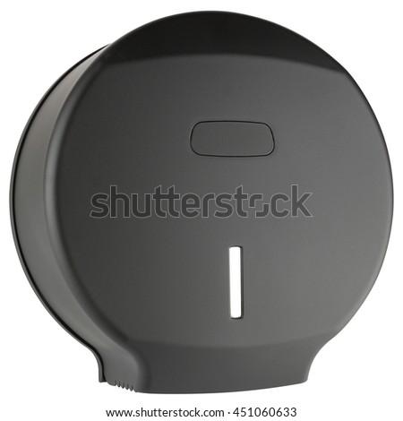 Black toilet paper dispenser made of plastic, isolated on white background - stock photo