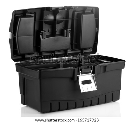 Black toolbox isolated on white - stock photo
