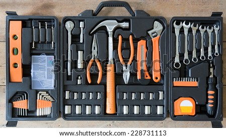 Black toolbox with different instruments  - stock photo