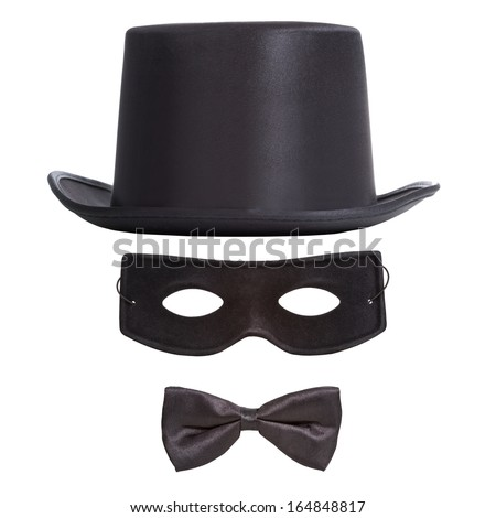 Black top hat, masquerade mask and bow tie isolated on white background. Masquerade or theatrical concept. Invisible man concept   - stock photo