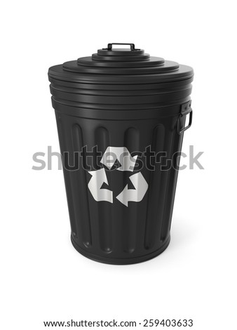Black trash can isolated on white background - stock photo
