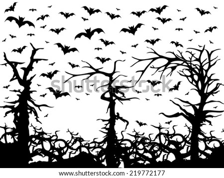 black trees and bats scary background isolated on white - stock photo