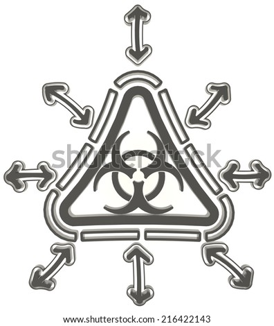 Black triangle biohazard radiation symbol in isolated background, create by 3D  - stock photo