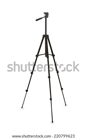 Black tripod isolated over white - stock photo