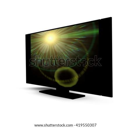 Black  TV screen mockup - 3D illustration - stock photo