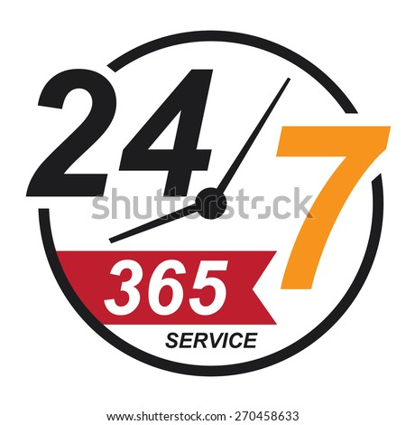 black 24 7 365, twenty four seven, round the clock service sticker, icon, label, banner, sign isolated on white  - stock photo