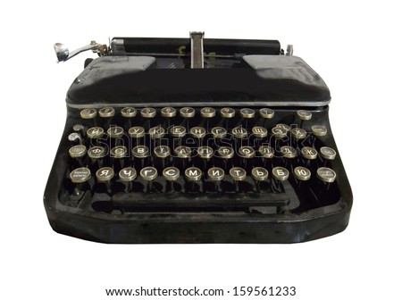black typewriter on a white background                                                                - stock photo