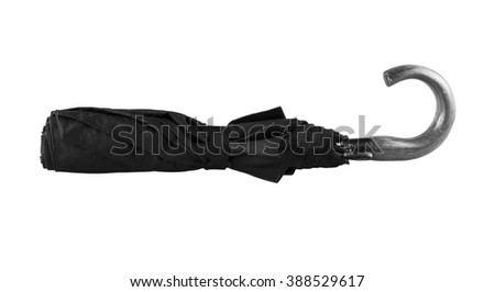 Black umbrella isolated on a white background - stock photo