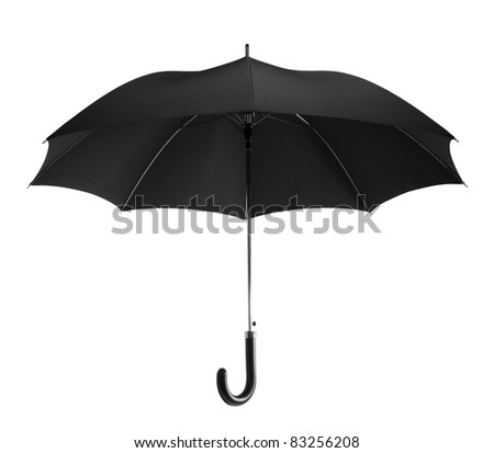 Black umbrella isolated on white - stock photo