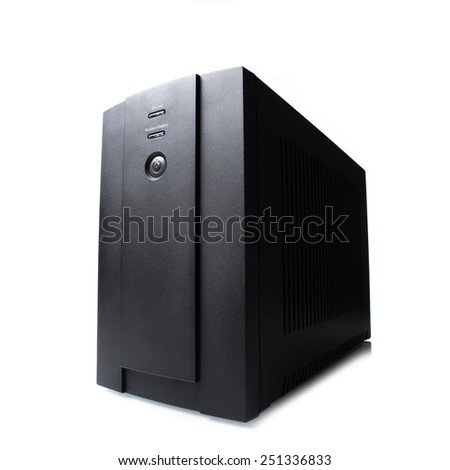black UPS (Uninterruptible Power Supply) on white background - stock photo
