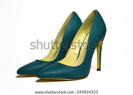 Black veluer pumps shoes - stock photo