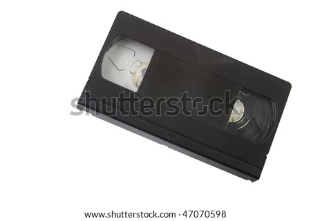 Black VHS tape isolated on white background - stock photo