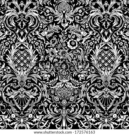 Black Vintage Detailed Lace Damask Pattern - stock photo
