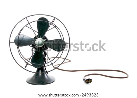 black vintage fan on-white - stock photo
