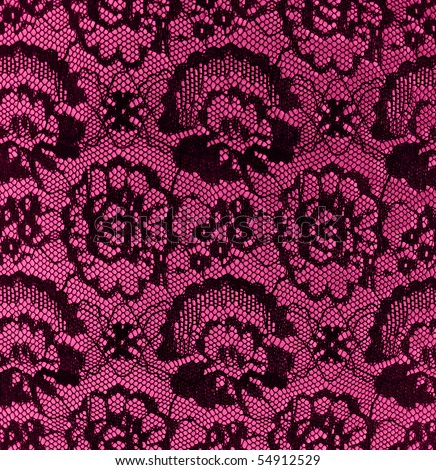 black vintage lace on pink - stock photo