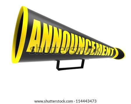 """Black vintage megaphone with the word """"announcement""""  isolated on white background - stock photo"""