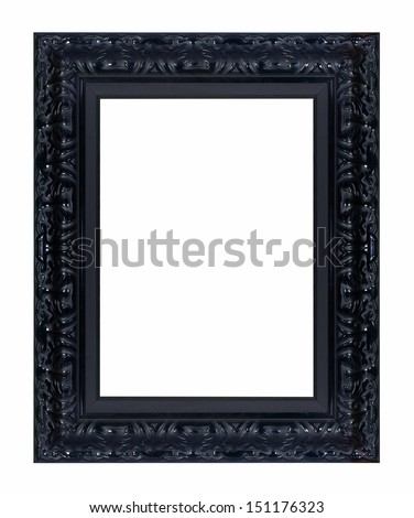 Black vintage picture frame isolated on white background. - stock photo