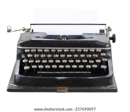 black vintage typewriter with empty white page isolated on white background - stock photo