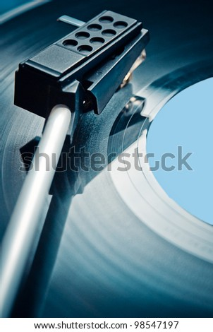 Black vinyl record lp album - stock photo