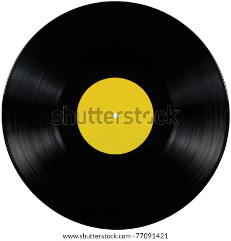 Black vinyl record lp album disc; isolated long play record disk with blank label in yellow - stock photo