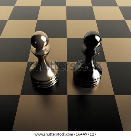 Black vs gold chess pawn background 3d illustration. high resolution  - stock photo