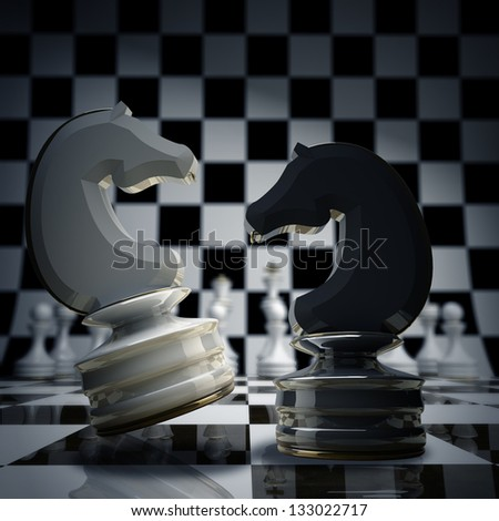 Black vs wihte chess horse background 3d illustration. high resolution - stock photo