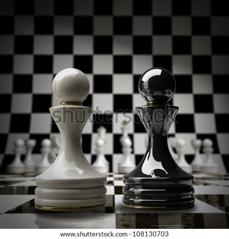 Black vs wihte chess pawn background 3d illustration. high resolution - stock photo