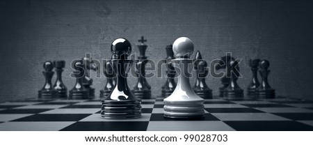 Black vs wihte chess pawn background. high resolution - stock photo
