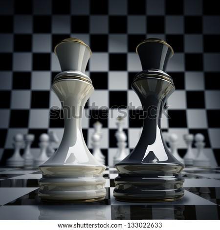 Black vs wihte chess Queen background 3d illustration. high resolution - stock photo