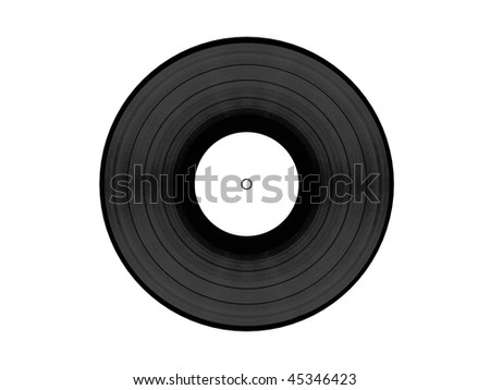Black vynil disc with white clean label isolated on white background. Front view. High quality 3d render. - stock photo