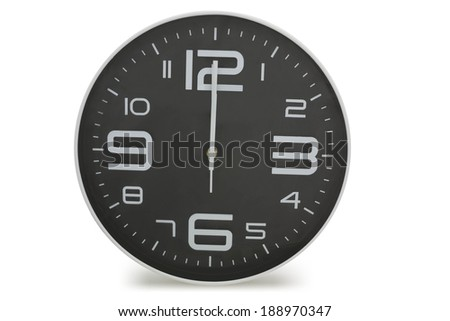 Black wall clock  on a white background. - stock photo