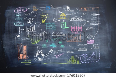 Black wall with business strategy - stock photo