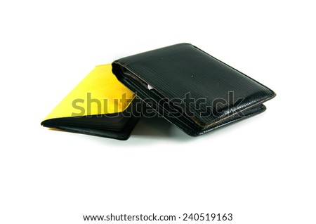 black wallet and yellow book card - stock photo