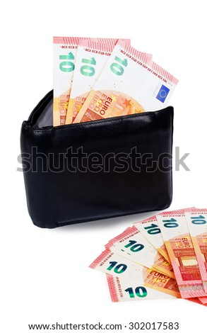 Black wallet with ten euro notes inside and ten euro notes lying close to it isolated on white - stock photo