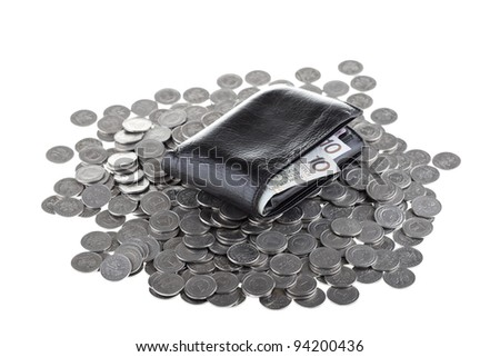 Black wallet with ten polish zloty paper money laying on one polish zloty coins isolated on white background. Money and savings concept. - stock photo