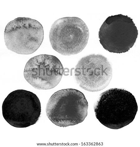 Black watercolor bubbles. Isolated shapes on white background.  - stock photo