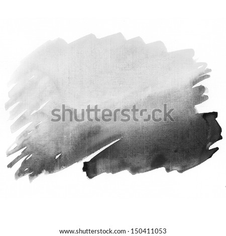 Black watercolor hand drawn background  - stock photo