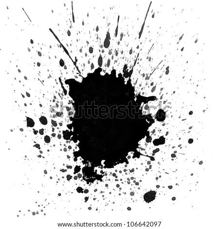 Black watercolor splashes on white background - stock photo