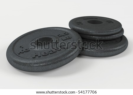 Black weights on white with clipping path - stock photo