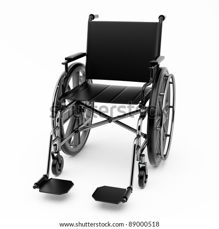 Black wheelchair on a light background. - stock photo