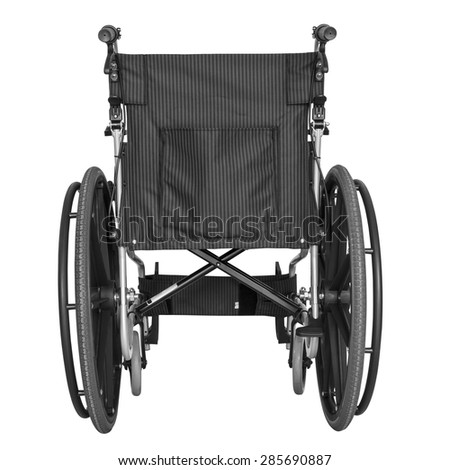 Black wheelchair on white background with clipping path - stock photo