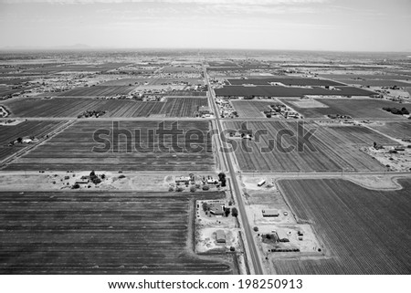Black & White aerial view looking south along Alma School Road from near Camelback Road on the reservation near Scottsdale, Arizona - stock photo