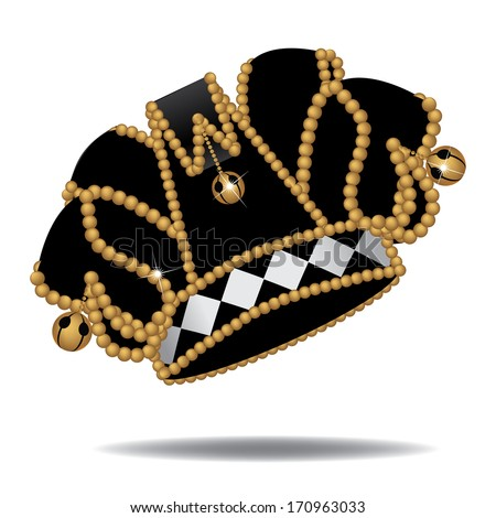 Black, white and gold Jester�s hat. Jpg. - stock photo