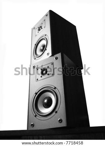 black-white audio speakers on white background - stock photo
