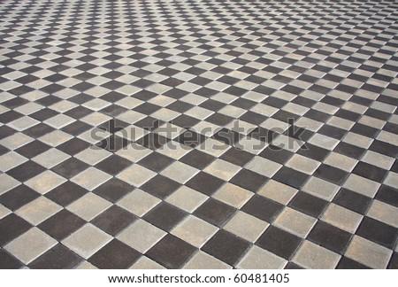 black, white floor - stock photo